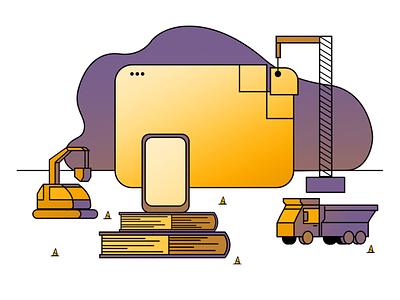 Under development under development branding illustration system hand drawn illustrator illustration design 2d