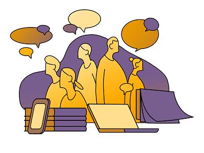 Group meeting group meeting illustration system hand drawn illustrator illustration design 2d