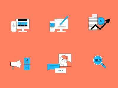 Digital Agency Assets digital agency icons vector branding illustration system illustrator illustration hand drawn design 2d