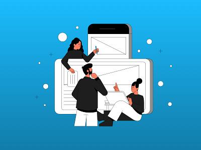 Team work web development digital development vector ui branding illustration system illustrator illustration hand drawn design 2d