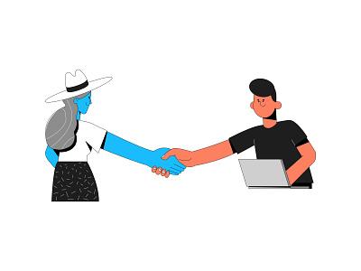 Hand shake agreement deal hand shake vector branding illustration system illustrator illustration hand drawn design 2d