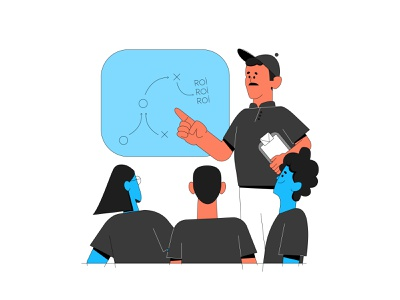 Return over investment tactics return over investment tactic board roi vector ui branding illustration system illustrator illustration hand drawn design 2d
