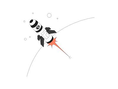We go beyond atmosphere rocket vector ui branding illustration system illustrator illustration hand drawn design 2d