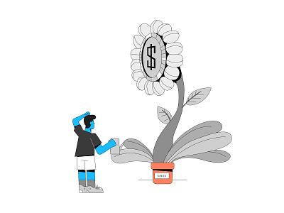 Watch your sales increase bigger sales growth increase sales water plant linework vector ui branding illustration system illustrator illustration hand drawn design 2d