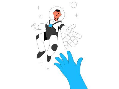Contact us space travel contact et alien reaching hands astronaut vector ui branding illustration system illustrator illustration hand drawn design 2d