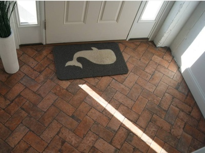 Entryway Remodel porcelaintiles renovate upgrade remodel herringbone design
