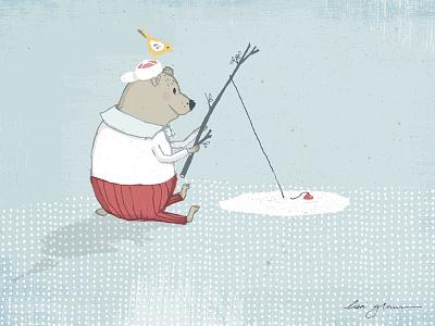 Bear loved to fish illustration whimsical art