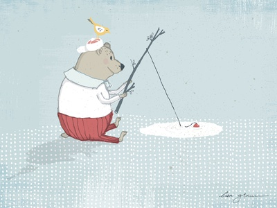 Bear loved to fish illustration whimsical art
