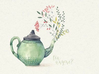 Tea Anyone? art watercolour illustration painting