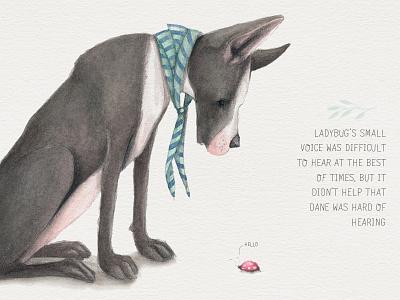 Dane meets Ladybug watercolour art whimsical illustration
