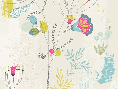Floral fantasy hand drawn society6 print illustration