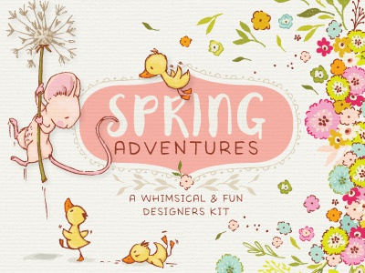 Spring Adventures  design resources digital art vector illustration design character