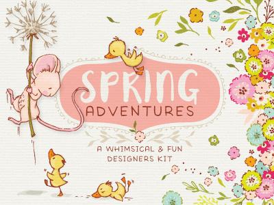 Spring Adventures  design resources digital art vector illustration design character