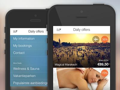 iOS app TravelBird app interface ui ux menu ios7 icons offer travel blurred navigation iphone