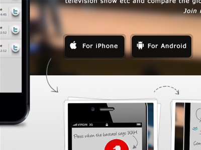 Snippet of the website for the iCountYou app app web website button iphone arrow iphone 5 android icountyou