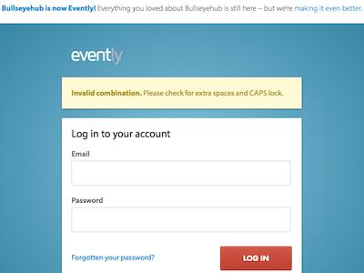 Evently Login evently login form flash error
