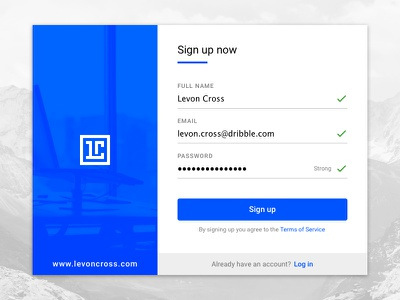 Daily UI #001 - Sign up animation material 001 daly ui buttons form fields account sign up