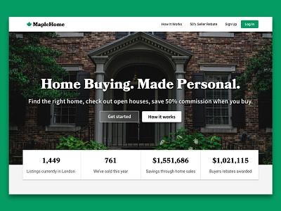 MapleHome real estate homepage ui serif house hero banner home maple realtor