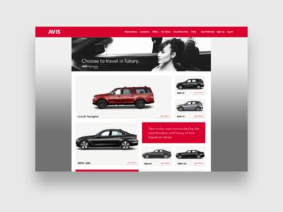 """Avis Luxury Vehicles """"Signature Series"""" Rental Site web design rentals cars avis"""