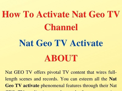 How To Activate Nat Geo TV Channel