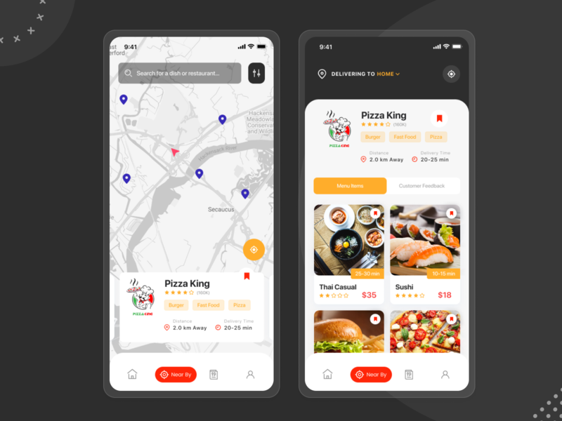 Food Delivery App - Filtering nearest restaurant designlife icon pixel brightcolours uxui creative inspiration dailyui wireframes mobile ui design app scanapp restaurantapp uxdesign ux uidesign ui foodie fooddeliveryservice