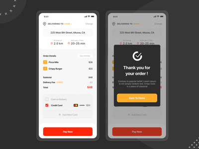 Food Delivery App - Payment process creative design wireframes uxui uxdesign uidesign restaurantapp restaurantpayment foodpayment mobile ui inspiration icon foodie fooddeliveryservice designlife design app dailyui creative brightcolours payment method payment