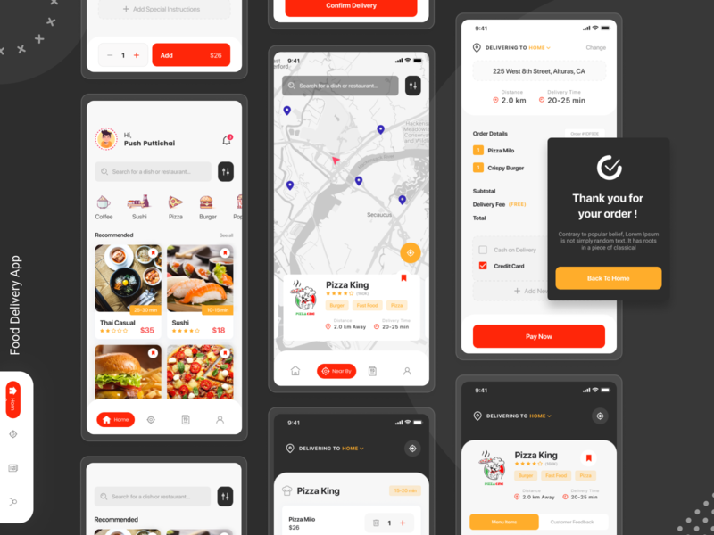 Food Delivery App uidesign uxdesign uxui mobile app design mobile ui mobile paymentprocess restaurant restaurantapp nearby pizza hut location app payment method uxd interaction communication designs service app foodie payments