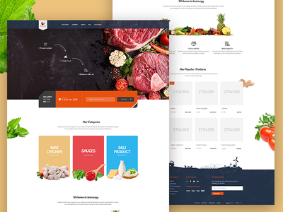 Food selling website raw food mobile app interaction texture restaurant landing food ecommerce bright