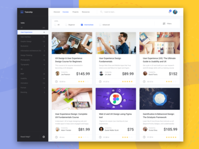 Tutorship - Online Courses, Learn Anything From Here ui ux uxd course share education skill tutorship online course minimalist design dashboard clean class app