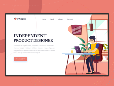 PFolio Landing Page Exploration exploration visual design interaction clean ux ecommerce ui communication vector page design header web flat uxd icon website typography illustration desain