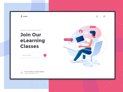 eLearning landing page new learn learning interaction design clean uxd communication website illustration design