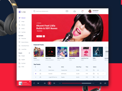 Music Club Player ux visual design interaction flat clean communication club player ui uidesign dashboard music player music app design app