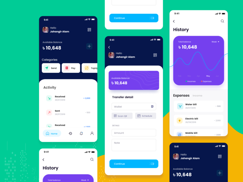 Pocket Wallet - Banking Application color app agency communication flat design design funding history balance managment finance finance app credit card crypto crypto wallet card currency exchange wallet banking app bank
