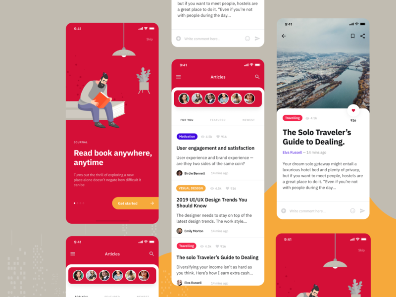 Article App Exploration - Blog Publication Concept conceptual redesign flat brand design news app newspaper content content design blog ux ui design clean communication article book