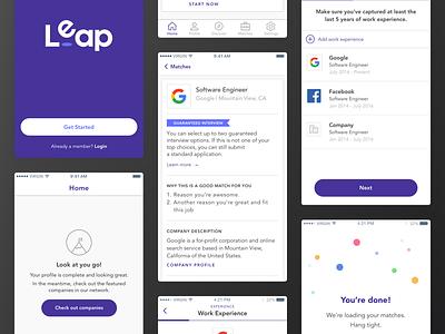 App Screens: Leap ai product design ux ui career jobs mobile iphone app