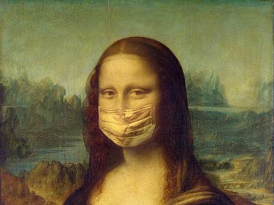Mona lisa mask social distancing pandemy covid coronavirus mask art da vinci leonardo da vinci monalisa