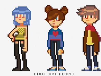 Pixel art people digital drawing digital pixelart pixel