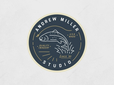 Studio Sticker illustration mono line fly fish fish trout sticker