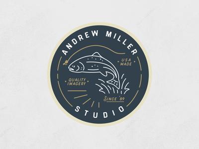 Studio Sticker illustration mono line fly fish fish trout sticker