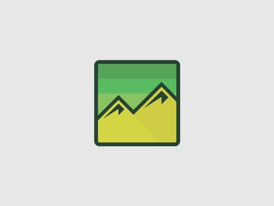 Thick Lines. Full Heart. Can't loose.   minimal icon badge thick lines mountains green illustration