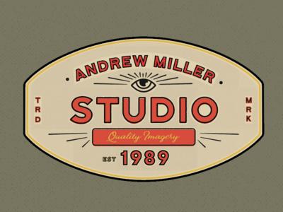 all seeing eye  andrew miller trade mark vintage eye lock up badge