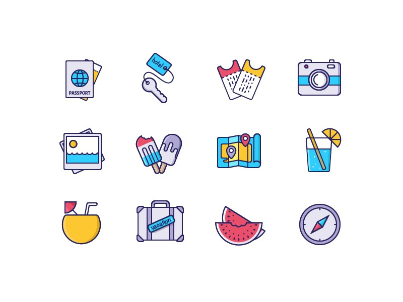 Vacation Stuff Icons (+freebie) cocktail ice-cream tickets colorful set illustration vacation globe icons travel adventure