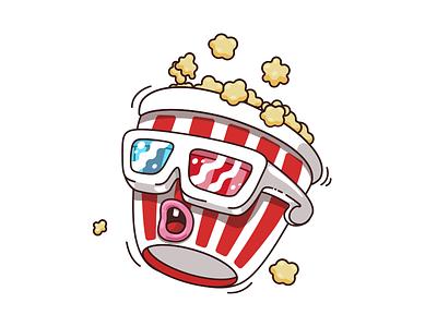 Popcorn illustrations characters movie cinema popcorn