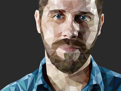 Illustration: Low-poly Portrait, Close-up