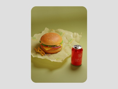 3d burger illustration 3d render cgi blendercycles blender 3dillustration 3d art