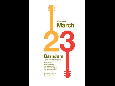 Barn Jam Mar 23 logo marks typography gig posters t-shirts logos graphic design advertising silkscreen illustration packaging posters icons