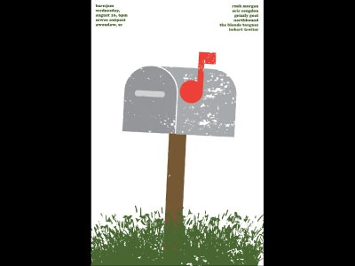 Barn Jam Aug 16 music rock poster music note mailbox barn jam