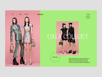 MARISSA FASHION HOUSE photoshoot typography green pink colors bright unusual brand clothes style fashion ux design minimalistic e-commerce ui