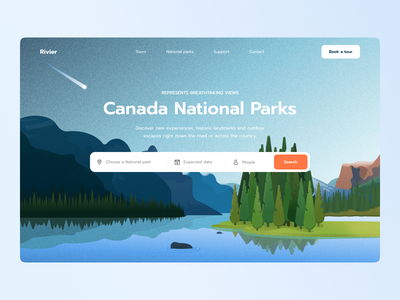 Canada National Parks search bar search ui design park canada lake woods nature site website home web ux ui studio layo flat illustration design