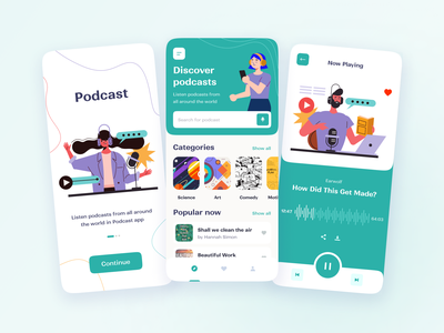 Podcast app product player podcast mobile mobile app user experience user interface ux ui studio layo flat design